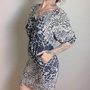 PRESLEY SKYE Silk Printed V-Neck Dress
